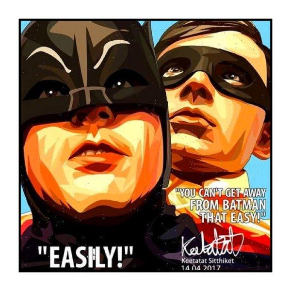 画像1: BATMAN & ROBIN / バットマン&ロビン [ポップアートパネル / Keetatat Sitthiket / Sサイズ / Mサイズ]